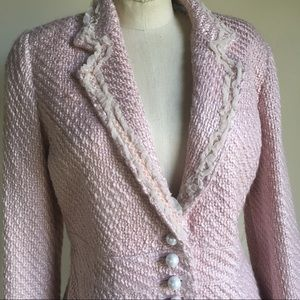 Pierre Cardin Feminine Pink Boucle Skirt Suit VGC